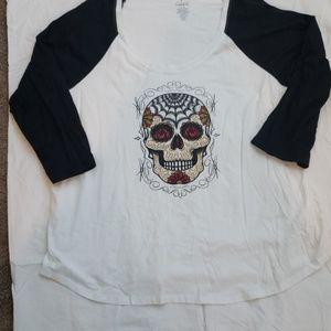 Torrid T-shirt floral  Crown skull 5X